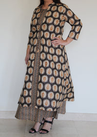 Brown Ajrakh Print 2 pc set