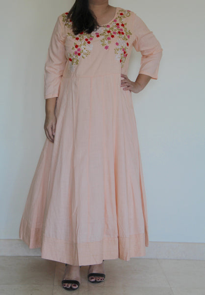 Peach Embroidered Dress