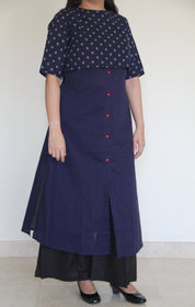 Navy Blue Cropped Top with Kurta