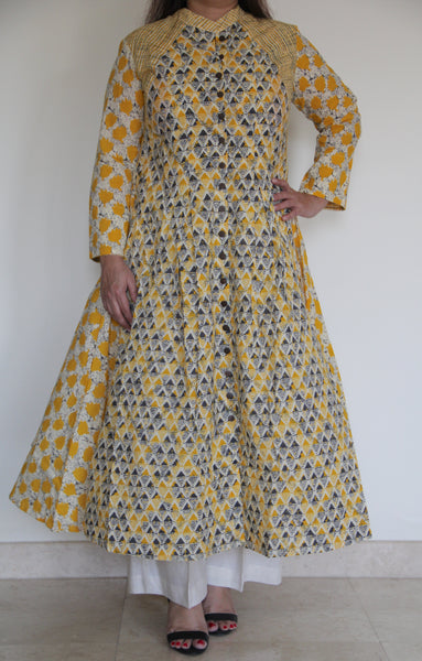 Yellow and Grey Printed Anarkali Dress
