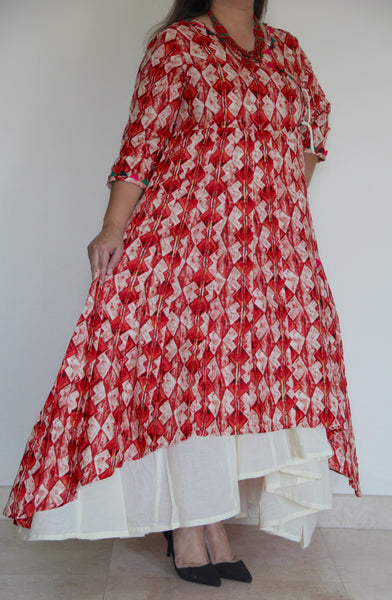 Red 2 Layer Angarakha Tunic
