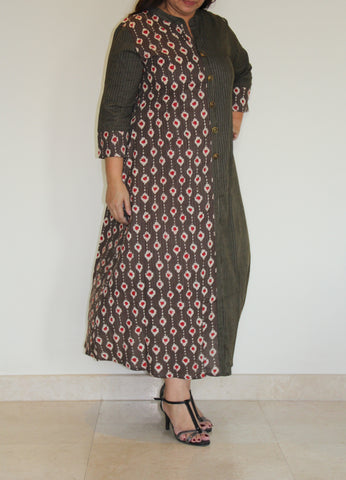 Earthy and kantha dress full kantha front open dress