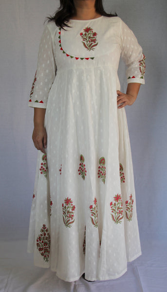White Long Anarkali Dress