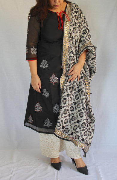 Black Chanderi Silk Kurta