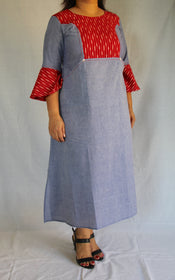 Blue Chambray and Red Ikat Dress