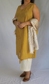 Mustard Crushed Cotton Tunic