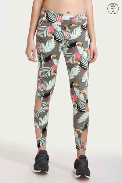 Zivame Printed Leggings- Green N Floral Print