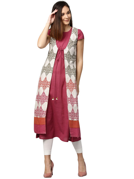 Pink Ethnic Motifs A-Line Cotton Flex Kurta with Ethnic Jacket