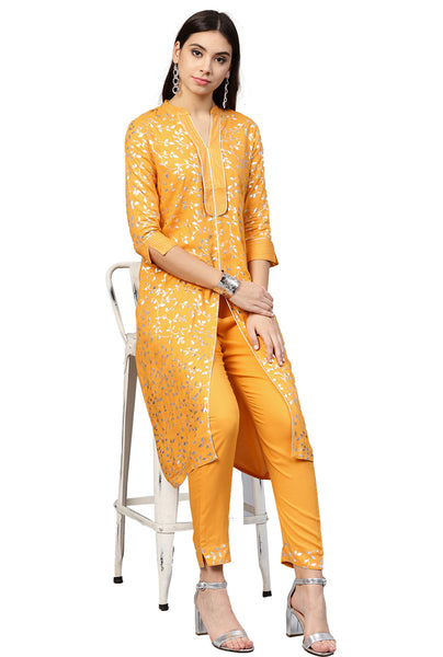 Yellow Ethnic Motifs A-Line Rayon Kurta with Pant