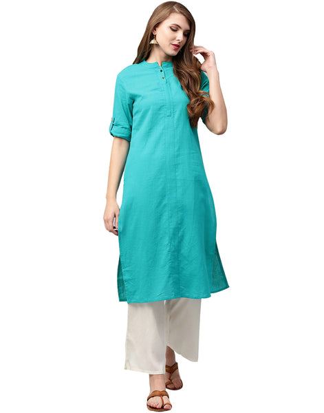 Cotton Flex Sea Green Color Kurta With Off White Palazzo Set