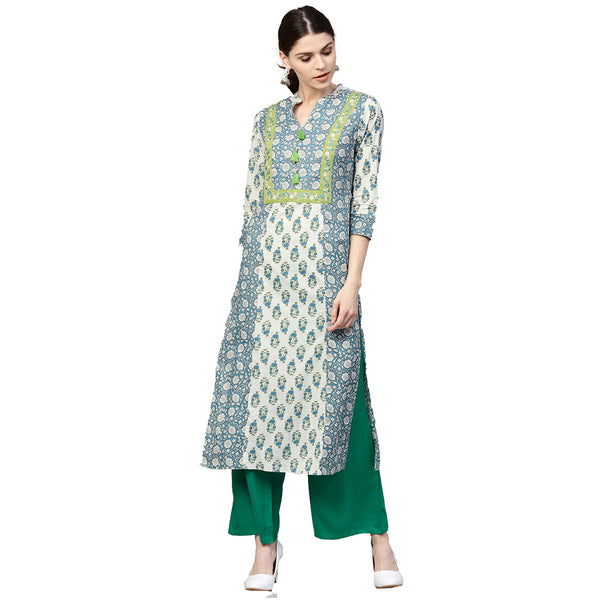 Blue and Green Ethnic Motifs Straight Cotton Kurta With Palazzo