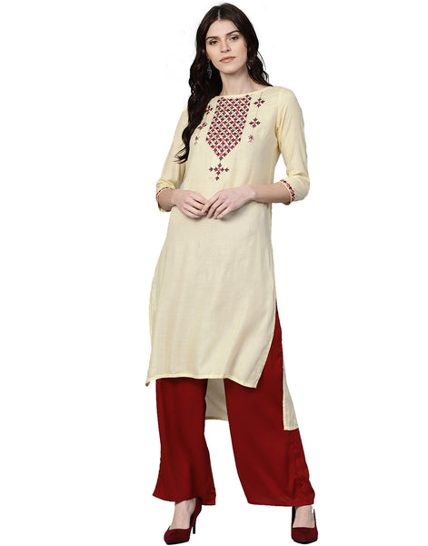 Cream Maroon Solid Straight Dobby Kurta With Palazzo