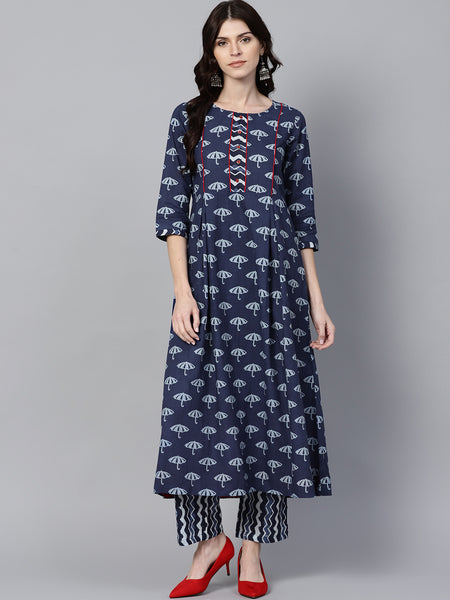 Blue Cute Print A-Line Cotton Kurta With Palazzo
