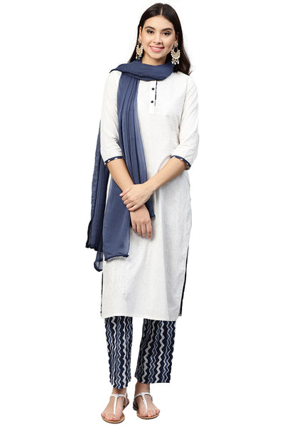 White and Blue Cotton Kurta with Palazzo