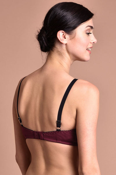 Rosaline All Day Comfort Full Coverage Crossover Style Bra- Maroon