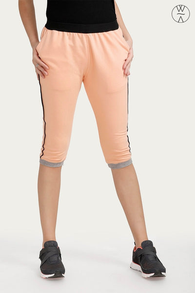 Zivame Wide Waistband Trackpants- Peach