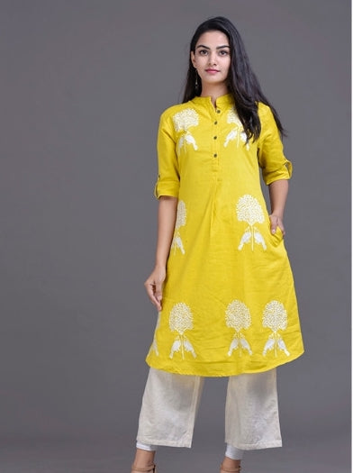 Yellow Embroidered  Set
