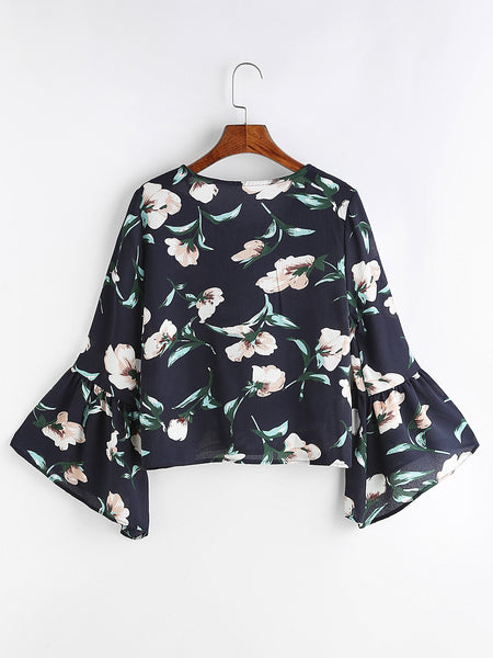 Zere Souq Navy Florals Lace Up V Neck Bell Sleeve Blouse