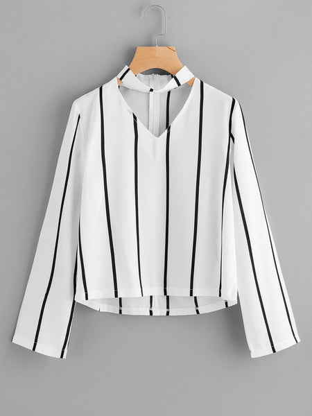 Zere Souq V Cut Striped Zip Back Blouse