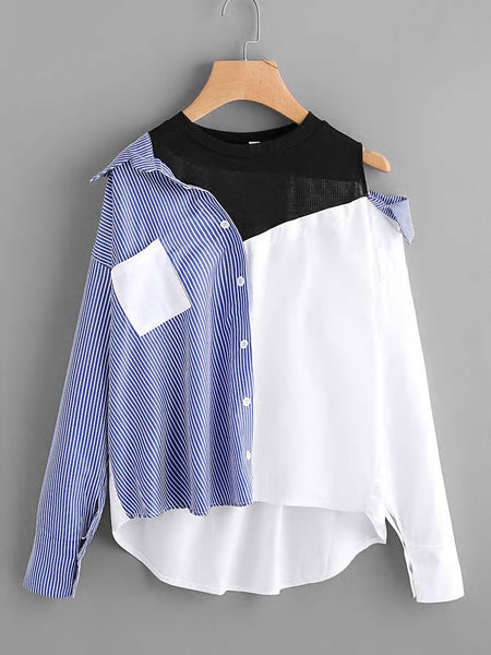 Zere Souq Asymmetric Open Shoulder Contrast Striped Dip Hem Blouse
