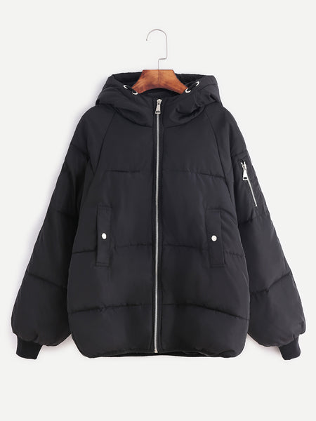 Zere Souq Black Raglan Sleeve Zipper Hooded Padded Coat