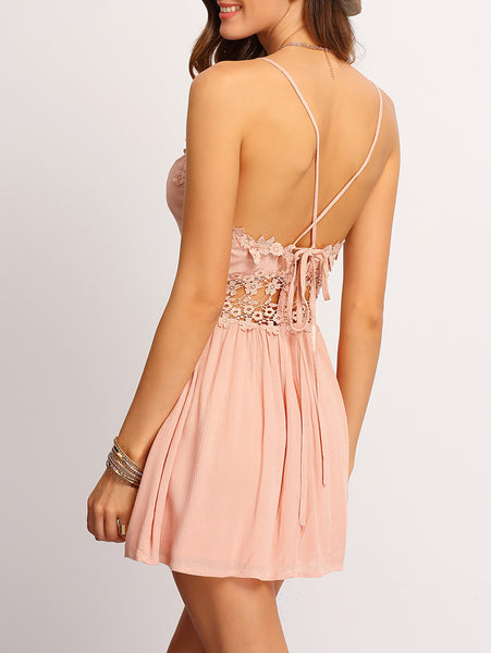 Zere Souq Crisscross-Back Hollow Out Lace Up Dress