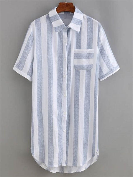 Zere Souq Vertical Striped Shirt Dress