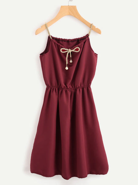 Zere Souq Braided Bead Strap Tie Neck Cami Dress