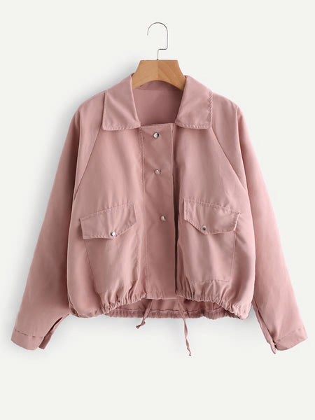 Zere Souq Drawstring Hem Double Pockets Jacket