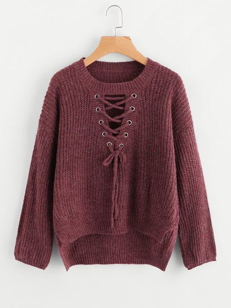 Zere Souq Eyelet Lace Up Dip Hem Sweater