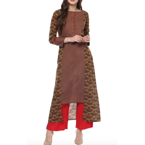 Printed Brown Cotton Kurta Palazzo Set