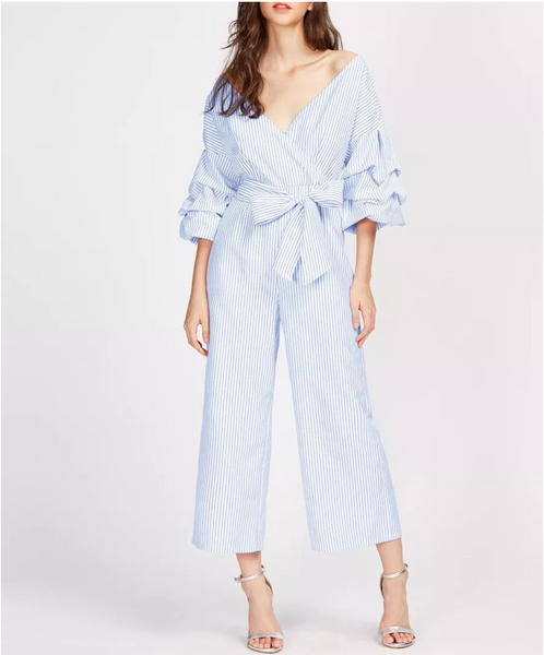 Drop Shoulder Pinstripe Jumpsuit