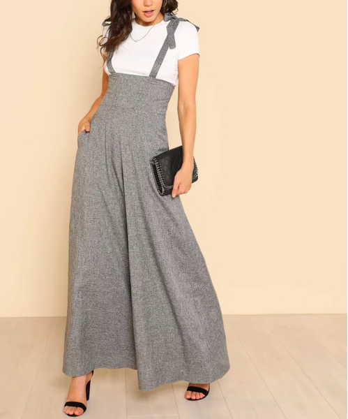 Self Tie Strap Super Wide Leg Jumpsuit