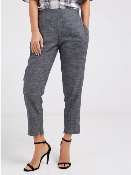 Grey Herringbone Cigarette Pants