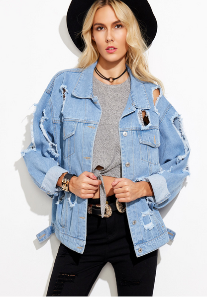 Zere Souq Extreme Destroyed Denim Boyfriend Jacket