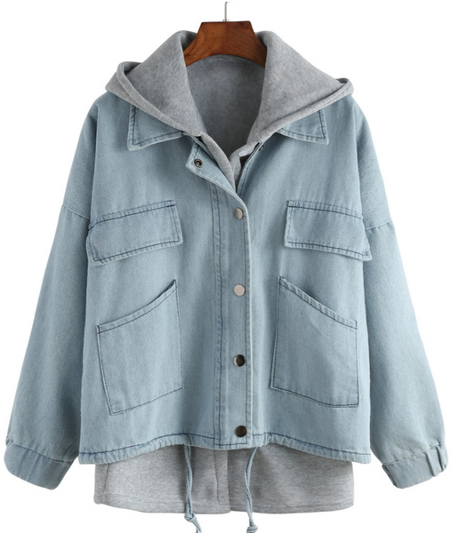 Zere Souq Hooded Drawstring Denim Two Pieces Outerwear
