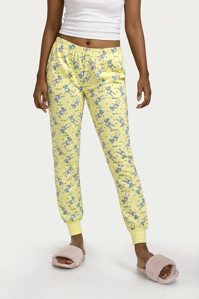 Zivame Crazy Farm Relaxed Fit Sleep Pyjama- Yellow N Print