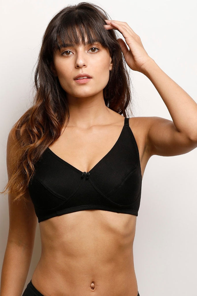 Zivame Cotton Rich Wirefree Bra- Black
