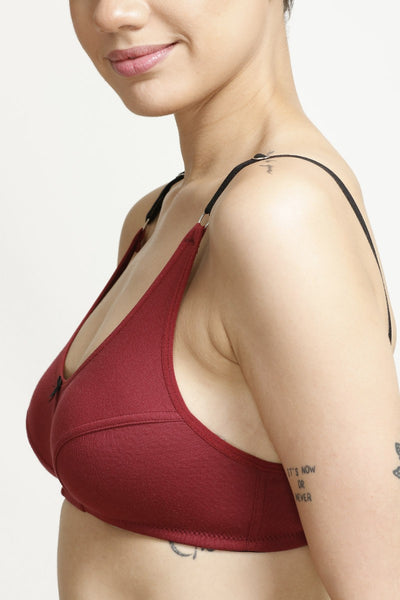 Zivame All Day Comfort 3-4th Coverage Bra- Maroon