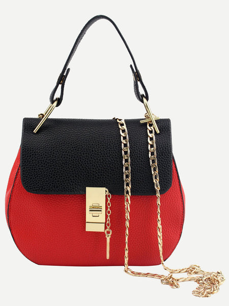 Contrast Faux Leather Handle Saddle Bag With Chain