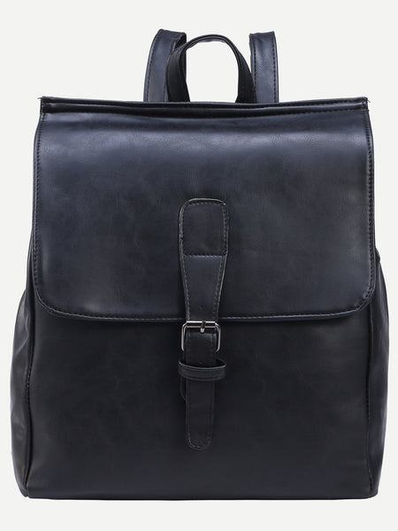 Black Buckled Strap Front Flap Backpack