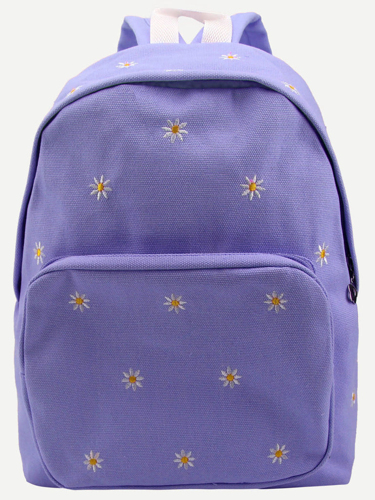 Purple Daisy Embroidered Canvas Backpack