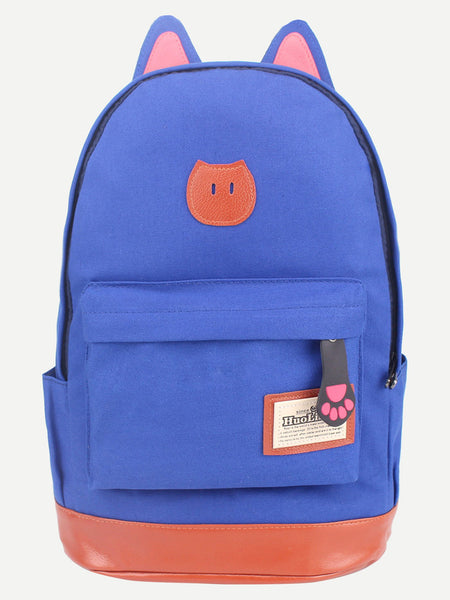 Blue Canvas Backpack With Cat Ears