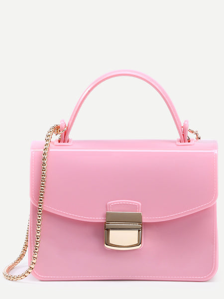 Pink Pushlock Closure Plastic Handbag With Chain