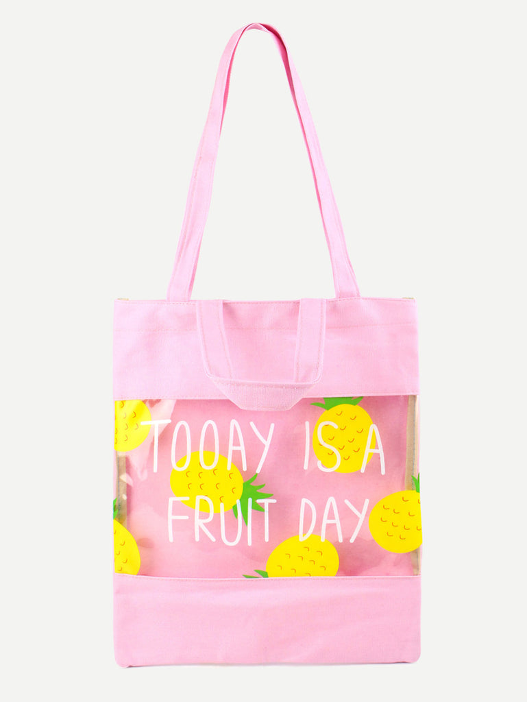 Pink Pineapple Print Clear Panel Canvas Tote Bag