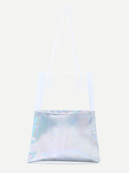 Contrast Iridescent Clear Strap Shopper Bag