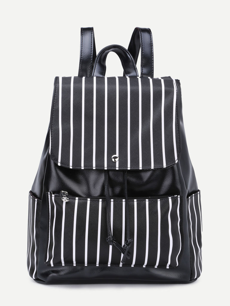 Faux Leather Stripes Drawstring Flap Backpack