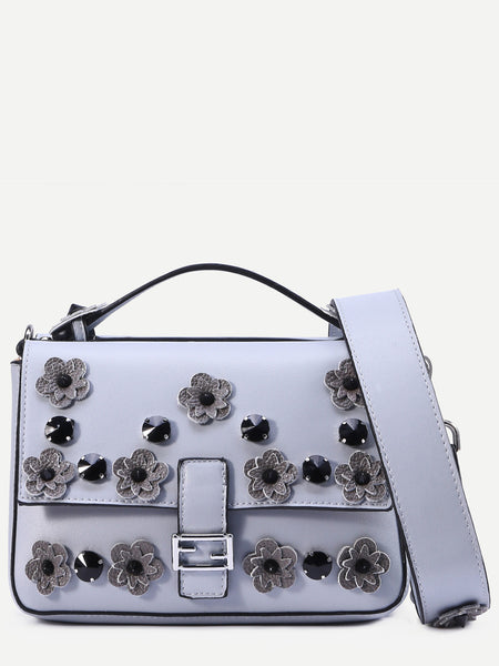 Grey Flowers And Rivet Embellished Satchel Bag