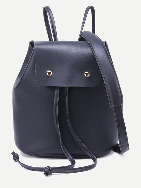 Black Faux Leather Drawstring Flap Backpack With Clutch