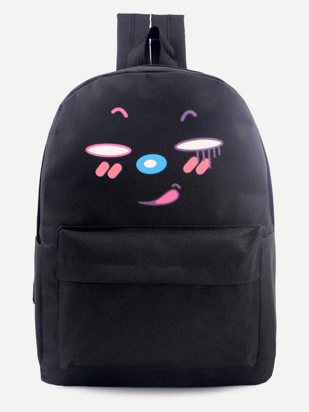 Black Cartoon Print Front Zipper Nylon Backpack